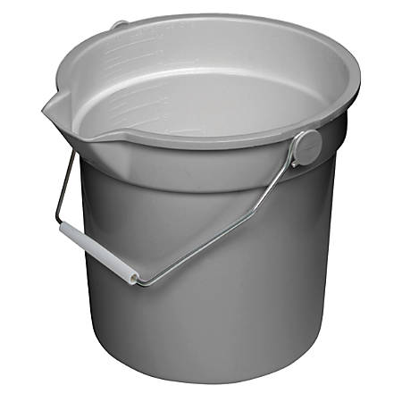 Continental Huskee® Buckets, 14 Quart, Gray, Pack Of 6