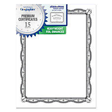 Geographics Silver Foil Heavyweight Certificates Letter