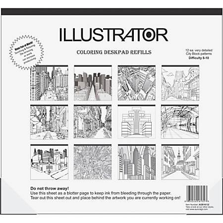 "Aurora Illustrator Coloring Deskpad Refills - 18"" x 16 1/2"" - Black/White Paper - Recycled - 1Each"