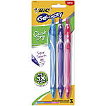 BIC® Gel-ocity Quick-Dry Retractable Gel Pens, Medium Point, 0.7 mm, Turquoise/Purple/Pink Barrels, Turquoise/Purple/Pink Fashion Inks, Pack Of 3