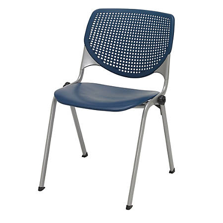 KFI Studios KOOL Stacking Chair With Casters, Navy/Silver