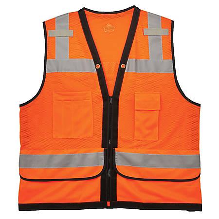 Ergodyne GloWear Safety Vest, Heavy-Duty Mesh, Type-R Class 2, Large/X-Large, Orange, 8253HDZ