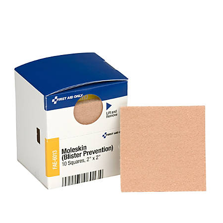 """First Aid Moleskin/Blister Protection, 2"""" Squares, 10/Box"""