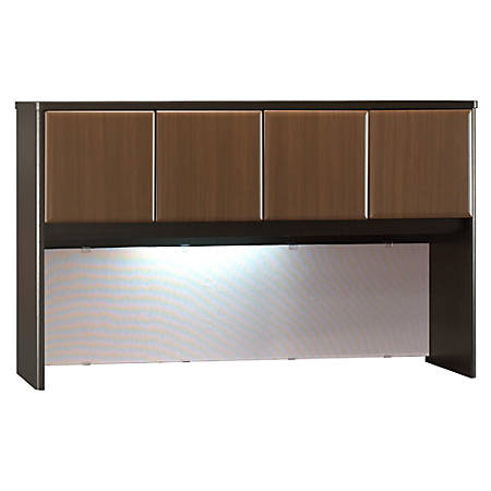 "Bush Business Furniture Office Advantage Hutch 60""W, Sienna Walnut/Bronze, Standard Delivery"