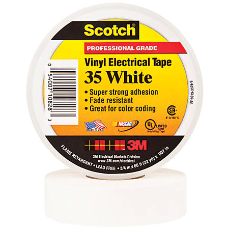 """3M™ 35 Color-Coded Vinyl Electrical Tape, 1.5"""" Core, 0.75"""" x 66', White, Pack Of 10"""