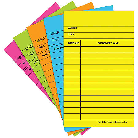 """Top Notch Teacher Products® Bright Library Cards, 5"""" x 3"""", Assorted Colors, 50 Cards Per Pack, Case Of 6 Packs"""