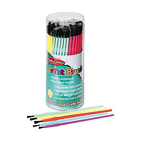 Creative Arts Classroom Brush Assortment, Sizes 1-6, Round Bristle, Nylon, Multicolor, Pack Of 144