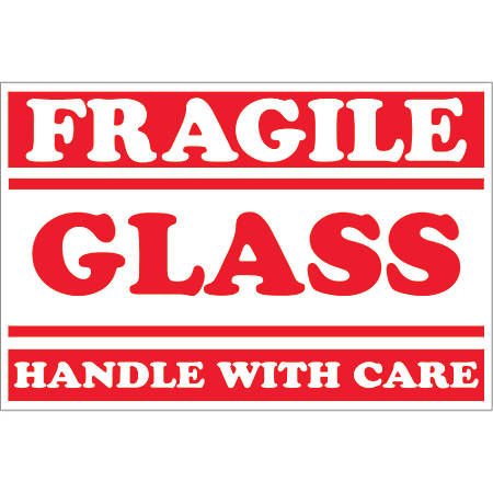 "Tape Logic® Preprinted Labels, DL1058, Fragile — Glass — Handle With Care (Lines), Rectangle, 2"" x 3"", Red/White, Roll Of 500"