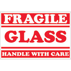 Tape Logic Preprinted Labels Fragile Glass