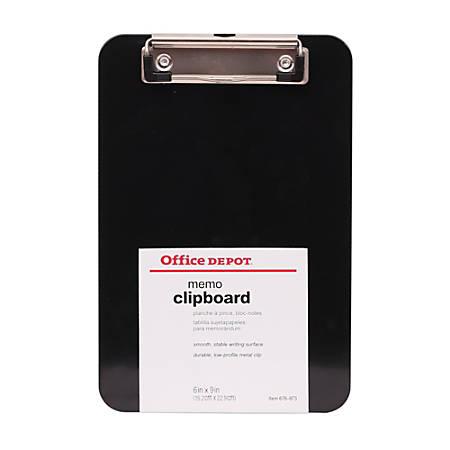 "Office Depot® Brand Black Economy Clipboard, 6"" x 9"", Memo Size"