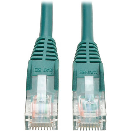 Tripp Lite 10ft Cat5e / Cat5 Snagless Molded Patch Cable RJ45 M/M Green 10' - 10 ft Category 5e Network Cable for Network Device - First End: 1 x RJ-45 Male Network - Second End: 1 x RJ-45 Male Network - Patch Cable - Green