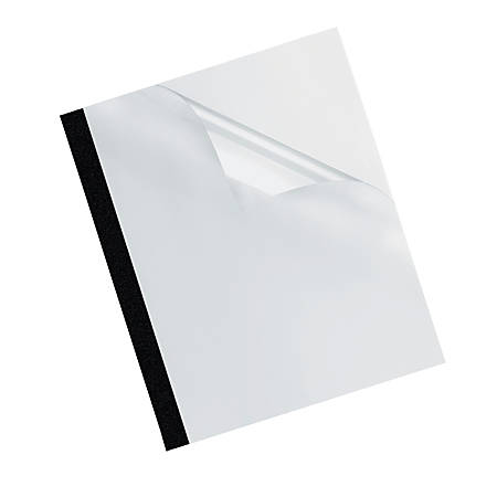 """Fellowes® PVC/Linen Thermal Binding Covers, 11 1/8"""" x 9 3/4"""", 120-Sheet Capacity, Clear/Black, Pack Of 10"""
