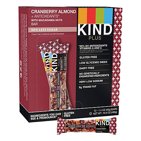 KIND Healthy Snack Bars, Cranberry/Almond/Antioxidants, 1.4 Oz, Box Of 12 Bars