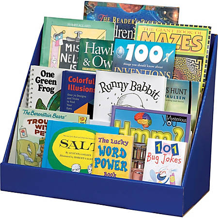 "Classroom Keeper's Corrugated 3-Tier Book Shelf, 17""H x 20""W x 10""D, Blue"
