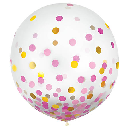 "Amscan 24"" Confetti Balloons, Gold/Pink, 2 Balloons Per Pack, Set Of 2 Packs"