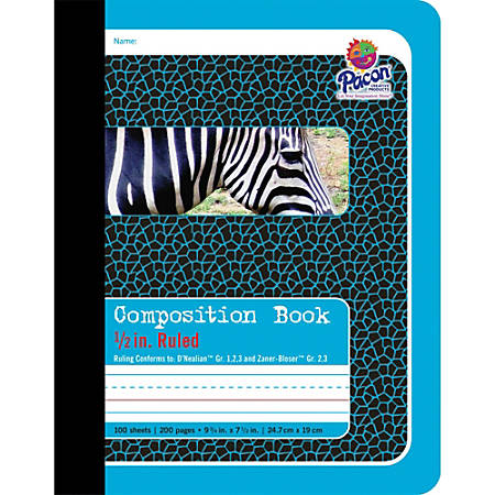 "Pacon 1/2"" Ruled Composition Book - 100 Sheets - 0.50"" Ruled - 7 1/2"" x 9 3/4"" - Blue Cover - 1Each"