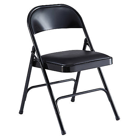 Lorell® Vinyl Padded Seat Folding Chair, Black, Set Of 4