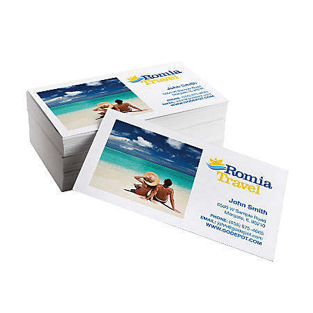 Same Day Business Cards 3 12 X 2 Matte White Box Of 50 Office Depot