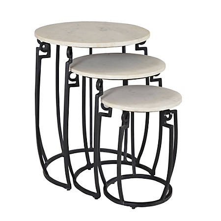 Coast to Coast Round Marble Nesting Tables, White, Set Of 3 Tables Item #  6773100