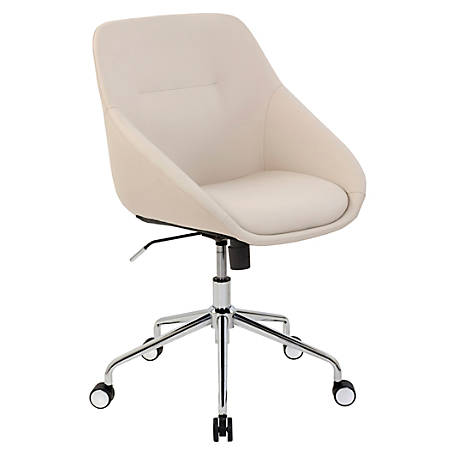 Elle Décor Taissy Bonded Leather Mid-Back Task Chair, Ivory