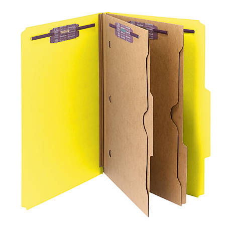 Smead® Pressboard Classification Folders With SafeSHIELD® Fasteners And 2 Pocket Dividers, Legal Size, 50% Recycled, Yellow, Box Of 10