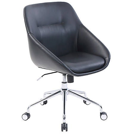 Elle Décor Taissy Leather Mid-Back Task Chair, Noir