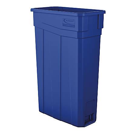 "Suncast Commercial Narrow Rectangular Resin Trash Can, 23 Gallons, 30""H x 11""W x 20""D, Blue"