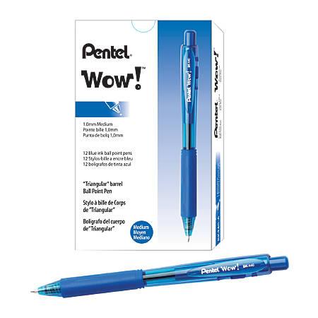 Pentel® WOW!™ Retractable Ballpoint Pens, Medium Point, 1.0 mm, Transparent Blue Barrels, Blue Ink, Pack Of 12