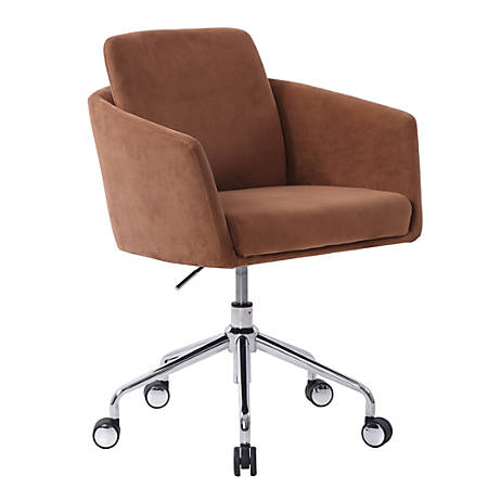 Elle Décor Vevey Velvet Mid-Back Task Chair, Cognac