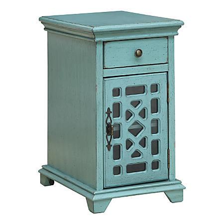 "Coast to Coast Chairside 1-Drawer 1-Door Cabinet, 25""H x 14""W x 20-1/2""W, Blue"