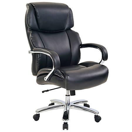 Realspace® Brevington Bonded Leather Big & Tall High-Back Chair, Black/Silver