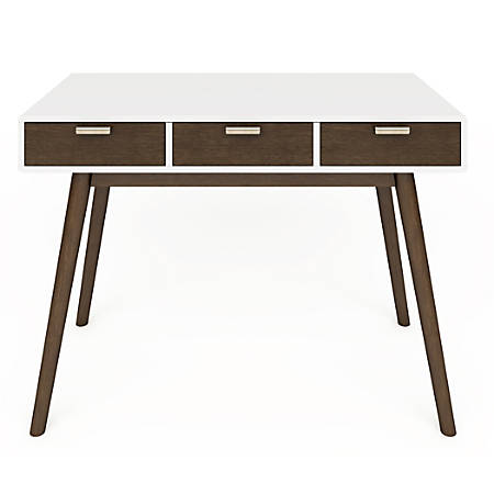 Elle Décor Stara Mid-Century Modern Desk, White/Brown