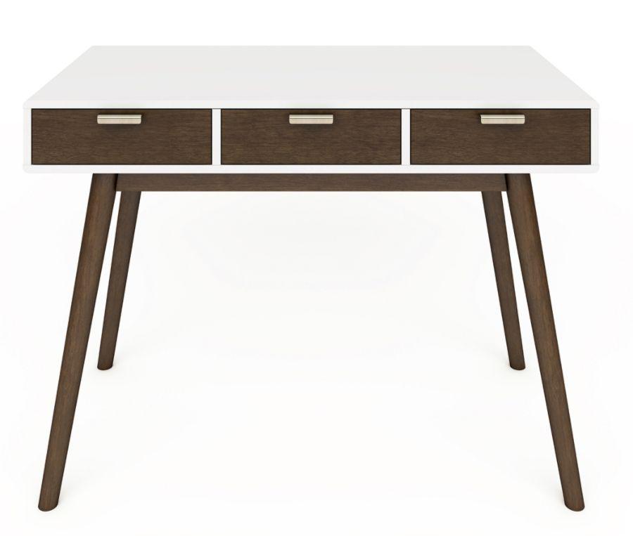 Elle D Cor Stara Mid Century Modern Desk WhiteBrown By Office Depot U0026  OfficeMax