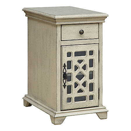 """Coast To Coast Chairside 1-Drawer 1-Door Cabinet, 25""""H x 14""""W x 20-1/2""""D, Ivory"""