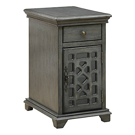 "Coast To Coast Chairside 1-Drawer 1-Door Cabinet, 25""H x 14""W x 20-1/2""D, Gray"