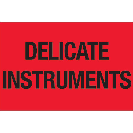 "Tape Logic® Preprinted Shipping Labels, DL1079, Delicate Instruments, Rectangle, 2"" x 3"", Fluorescent Red, Roll Of 500"