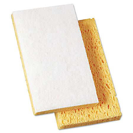 "Boardwalk® Scrubbing Sponges, 6 1/8"" x 3 5/8"", Yellow/White, Pack Of 20"