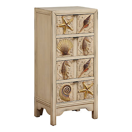 "Coast to Coast 4-Drawer Chest, 40""H x 19""W x 13-1/2""D, Cream"