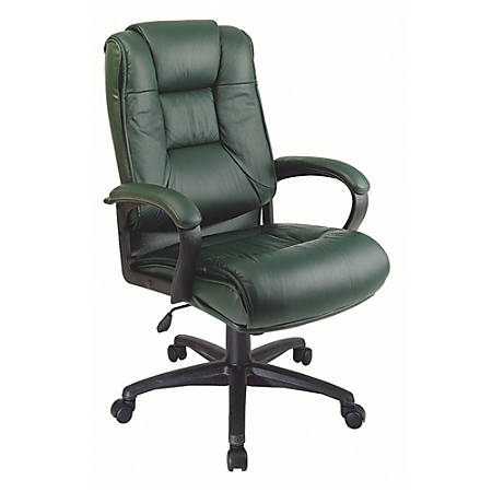 """Office Star™ Deluxe High-Back Leather Chair, 48""""H x 26 1/2""""W x 31 1/2""""D, Green/Black"""