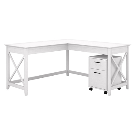 "Bush Furniture Key West 60""W L-Shaped Desk With Mobile File Cabinet, Pure White Oak, Standard Delivery"