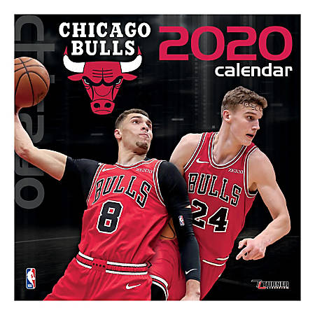 "Turner Licensing Monthly Wall Calendar, 12"" x 12"", Chicago Bulls, 2020"