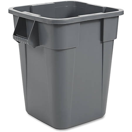 """Rubbermaid Commercial Brute Square Container - 40 gal Capacity - Square - Rounded Corner, Snap Lock - 28.8"""" Height x 23.5"""" Width - Gray"""