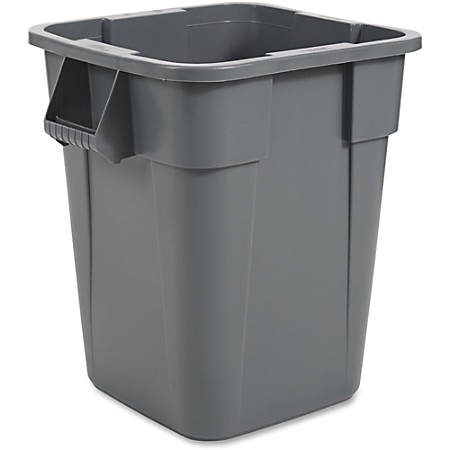 "Rubbermaid Commercial Brute Square Container - 40 gal Capacity - Square - Rounded Corner, Snap Lock - 28.8"" Height x 23.5"" Width - Gray"