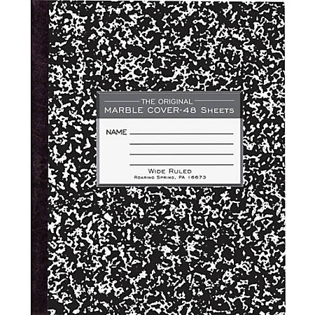 "Roaring Spring Tape Bound Composition Notebook, 8 1/2"" x 7"", 48 Sheets, Black Marble"