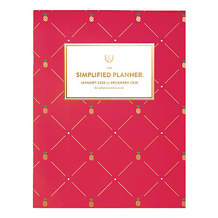 "Emily Ley Simplified® Pineapple Monthly Planner, 8-1/2"" x 11"", Pink, January To December 2020, EL300-091"
