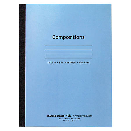 "Roaring Spring Tape Bound Composition Notebook, 8"" x 10 1/2"", 48 Sheets, Blue"