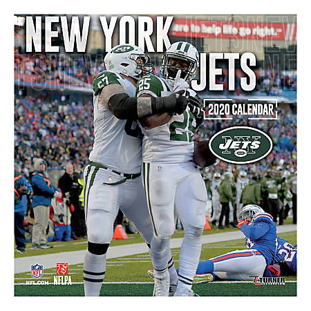"Turner Licensing Monthly Wall Calendar, 12"" x 12"", New York Jets, 2020"