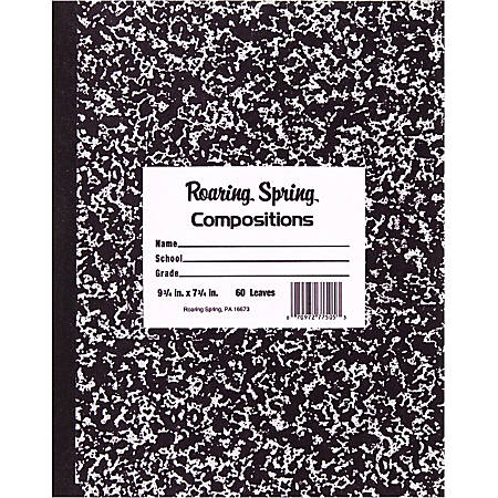 "Roaring Spring Tape Bound Composition Notebook, 8"" x 10"", 60 Sheets, Black Marble"