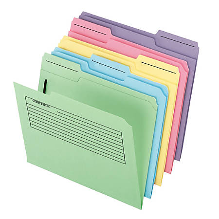 Pendaflex® Printed Notes Folders With 1 Fastener, 1/3 Cut, Letter Size, Assorted Colors (No Color Choice), Pack Of 30