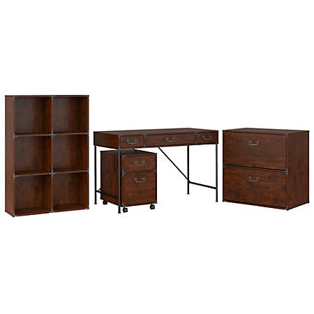"""kathy ireland® Home by Bush Furniture Ironworks 48""""W Writing Desk, 2 Drawer Mobile Pedestal, 6 Cube Bookcase, And Lateral File Cabinet, Coastal Cherry, Standard Delivery"""